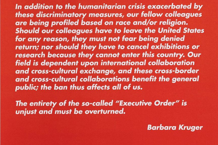 Art Against Immigration Poster by Barbara Kruger (detail)