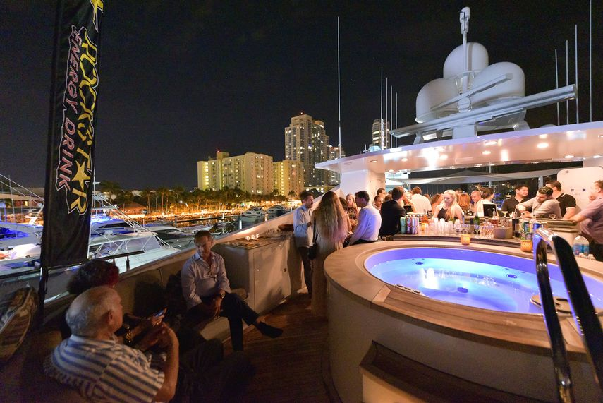 the view of the party at Art Basel Miami in 2017, an image from the news