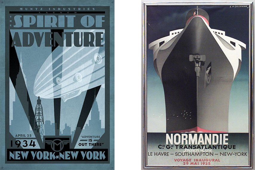 Art Deco design style on travel posters are different than art nouveau style