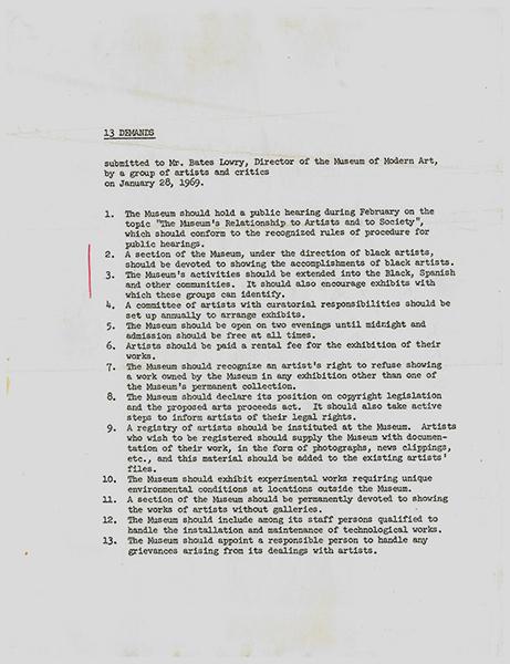 Art Workers Coalition 13 Demands