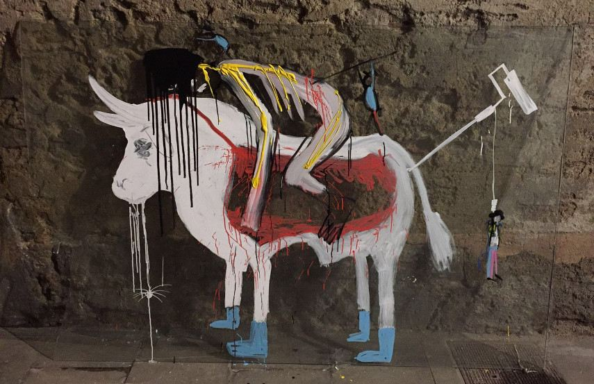 Art is Trash - Suicide of the matador on a white bull, 2016