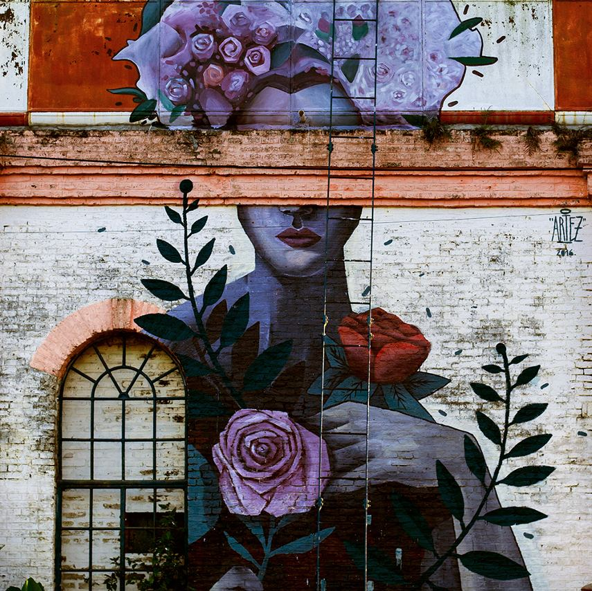 Artez - Mujer de las flores (detail) - Campo em Blanco project, Armstrong, Argentina, 2016
