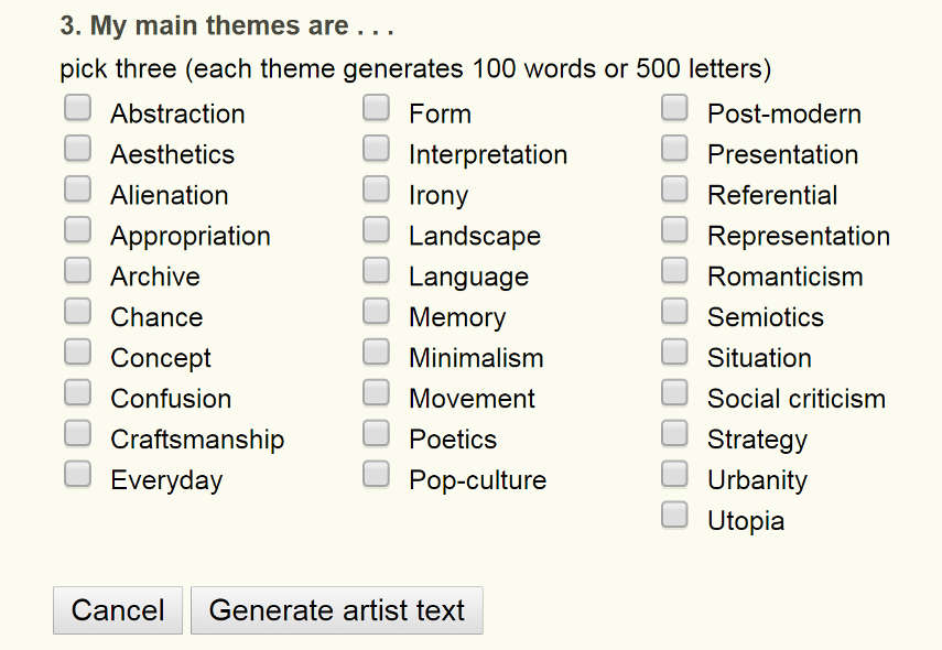 Artist Statement Generator  Letters  An Interesting Little Tool