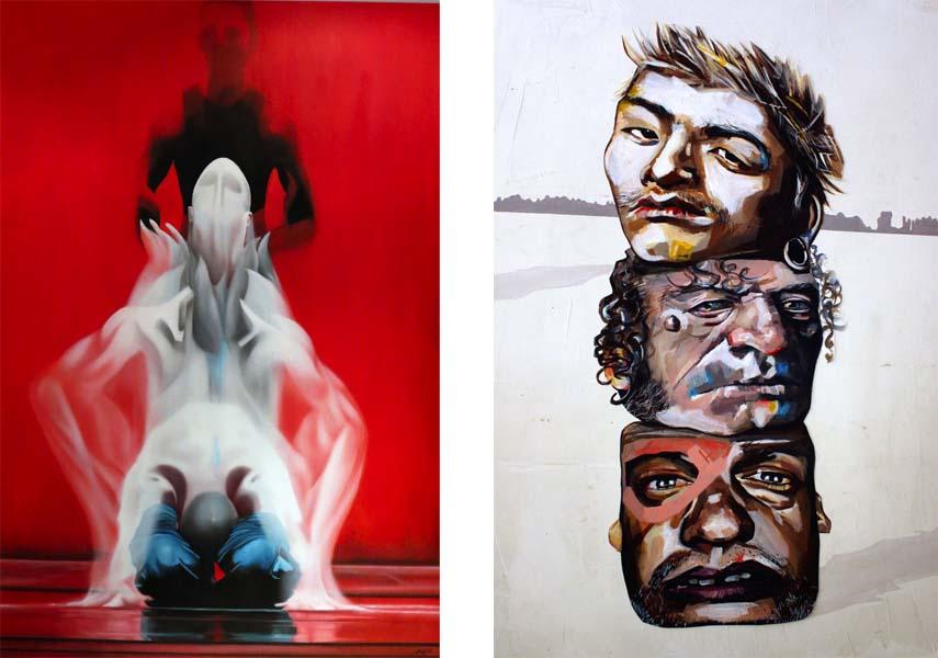 Left: Arturo Garcia DIHeras - El alma en danza, 114x114/ Right: Amit Elan - Indigenous Unicorn