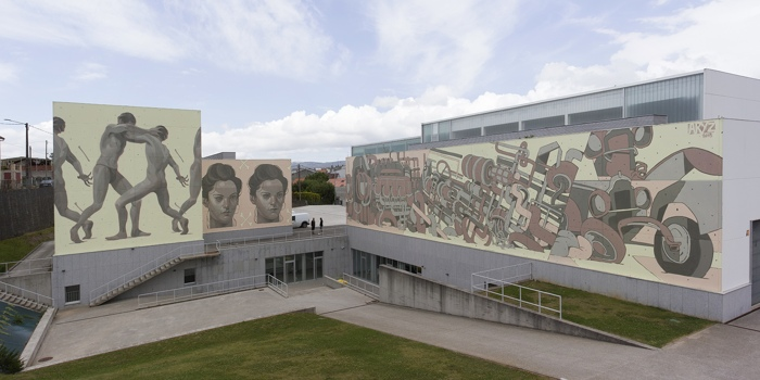 Aryz - Gigantic mural at Cultural Forum, Carballo, Galicia, 2015