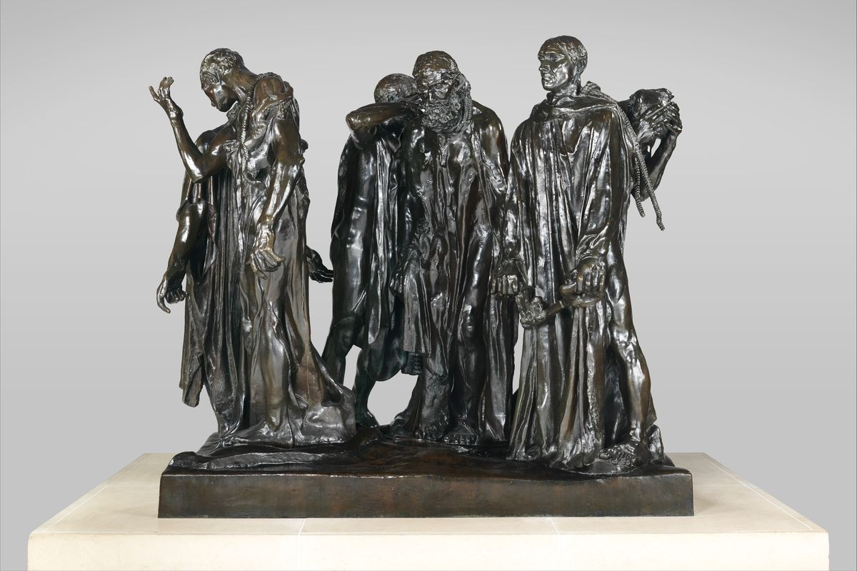 Sculptor Auguste Rodin (1840, Paris – 1917) - Burghers of Calais, 1884-1895, bronze arts sculpture