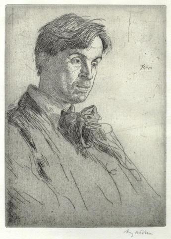 Augustus Edwin John-William Butler Yeats: Fourth Plate-1919