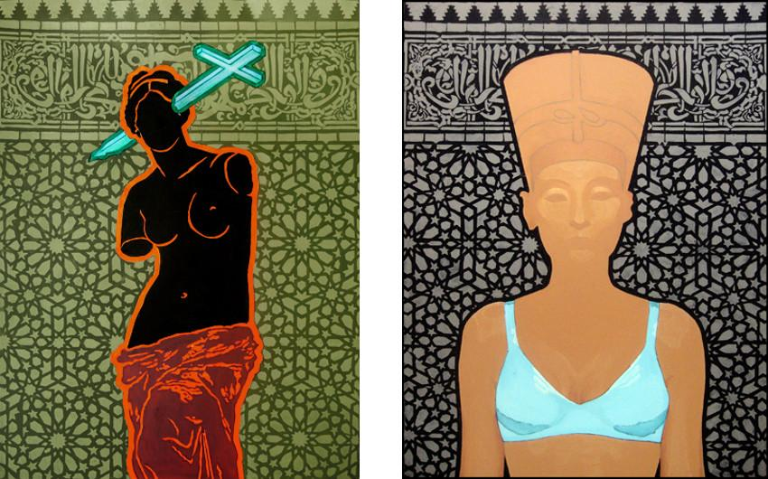 Rape of Venus I, 2013 (Left) / Nefertiti in Blue Bra (frontal), 2013 (Right) use