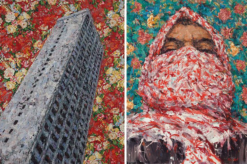 Ayman Baalbaki - Burj El Murr, 2014 - image via taymourgrahne.com (Left) / Let a Thousand Flowers Bloom, 2011 - image via oneart.org