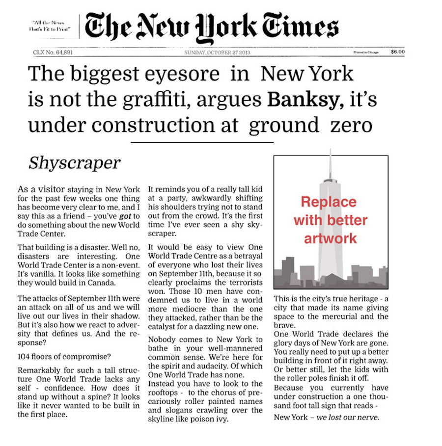 Banksy for NY Times