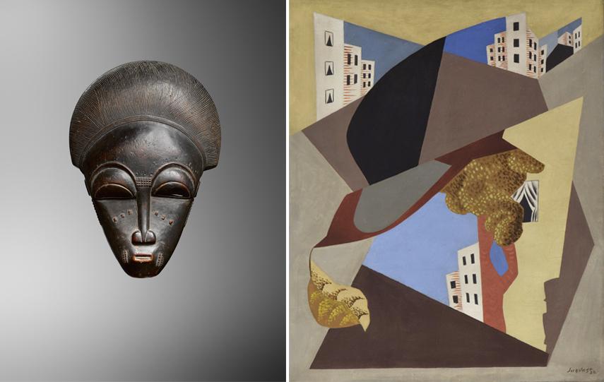 BRAFA 2020 Left Adrian Schlag - Baule Mask Right Stern Pissarro Gallery - Léopold Survage - Ville