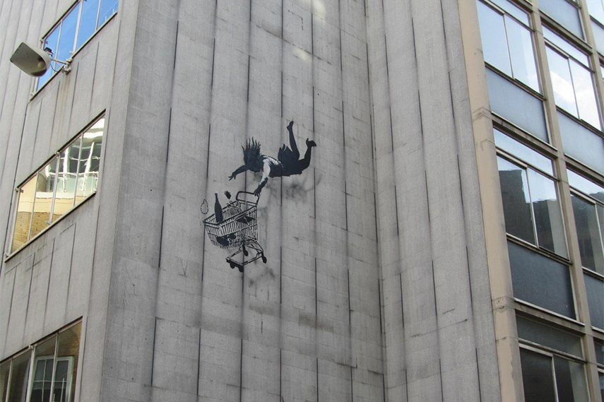 Banksy – Falling Shopper london london's end day