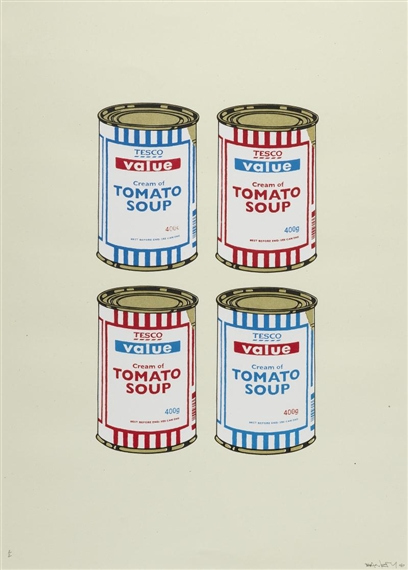 Banksy-4 Soup Cans, Blue and Red on Cream-2006
