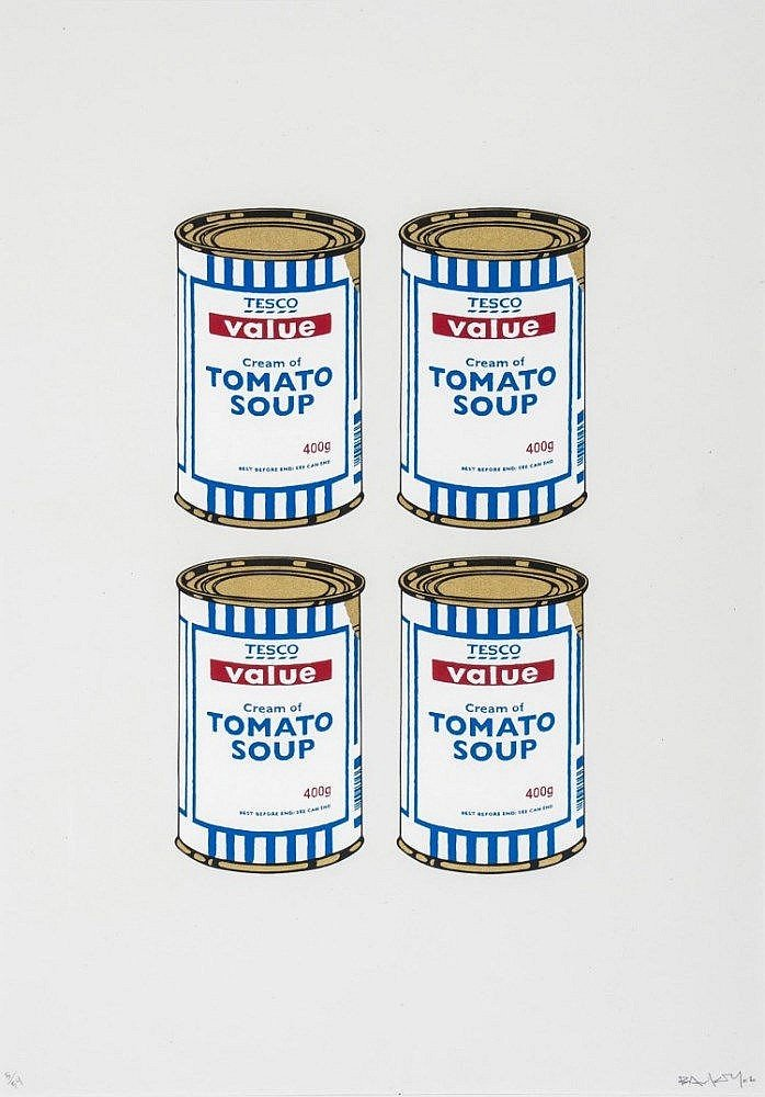 Banksy-4 Soup Cans, Gold on Cream-2006