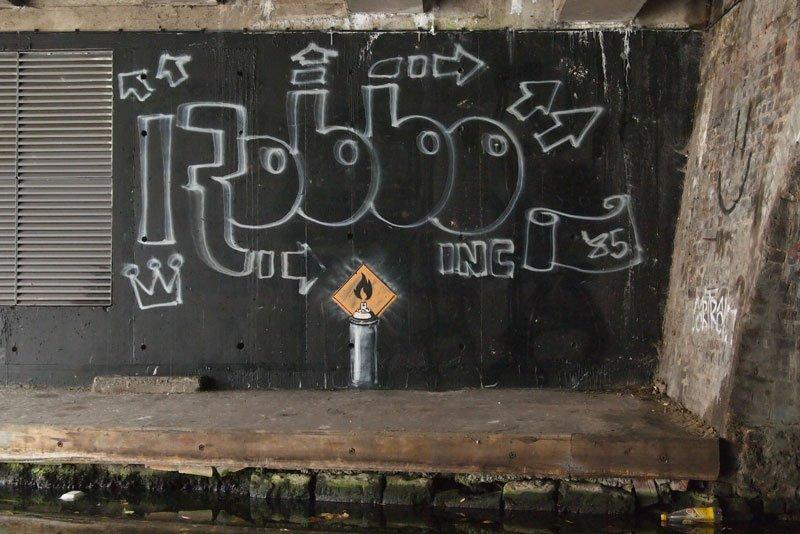 Banksy - An ode to King Robbo's original piece, November 2011, Camden, London