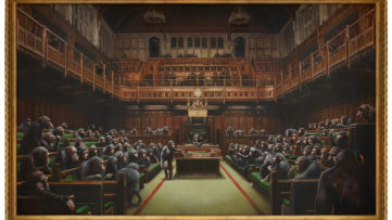 Banksy art at auction - Devolved Parliament painting