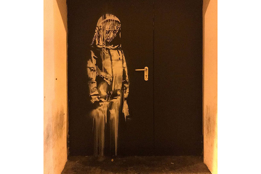 Banksy Fire door, Bataclan Paris 2018