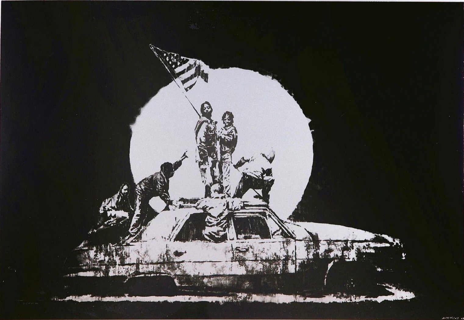 Banksy-Flag on Formica, Silver-2008