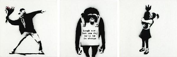 Banksy-Flower Thrower, Laugh Now Monkey, Bomb Hugger-2002