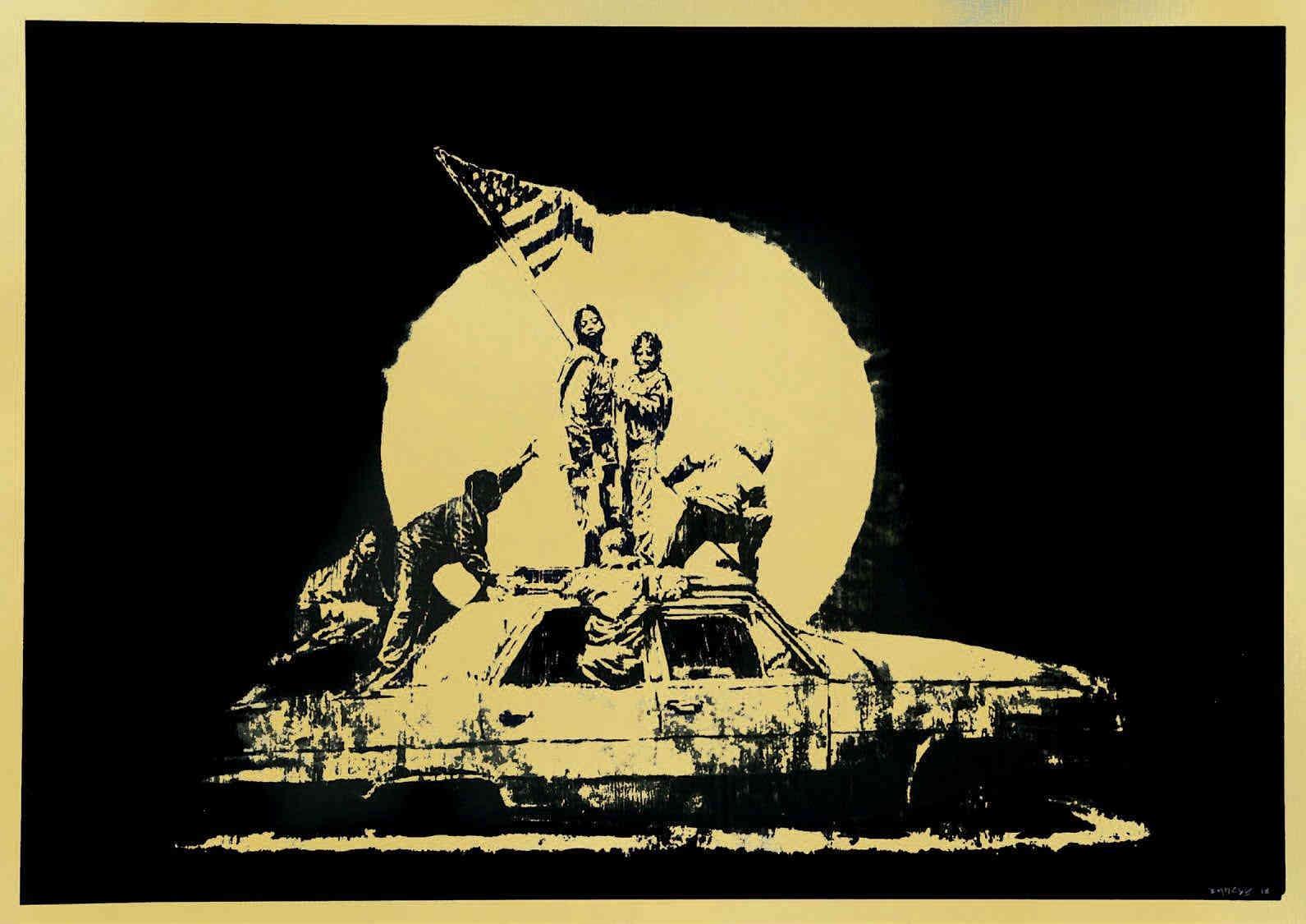 Banksy-Formica Flag, Gold-2007