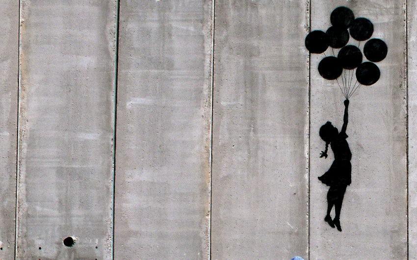 Banksy - Girl With Balloons, West Bank, Israel, 2005