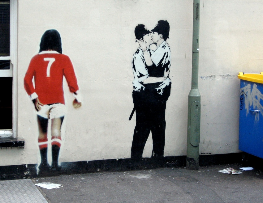 Banksy - Kissing Coppers, Prince Albert Pub in Brighton, England, 2004