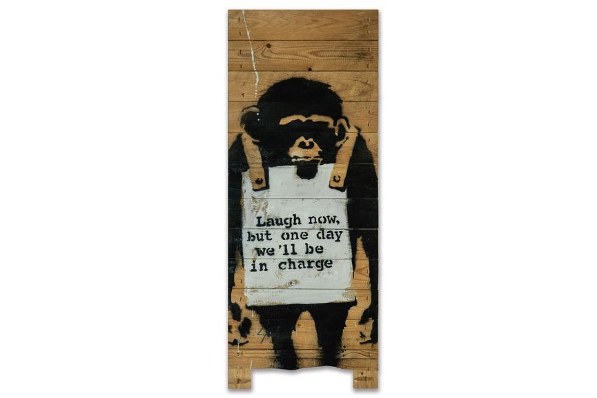 Banksy - Laugh Now On Palette, 2005