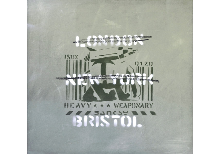 Banksy - London, New York, Bristol (Heavy Weaponry), 2000, spray paint on canvas, stenciled with the artist's signature BANKSY centrally; numbered and dated on verso