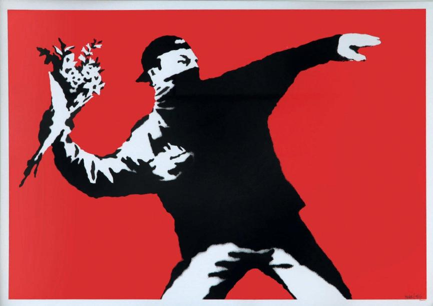 Banksy - Love Is In The Air - AP, 2003 (50 x 70 cm)