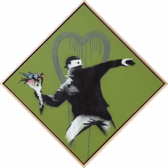 Banksy-Love is in the Air (AKA Flower Thrower)-2010