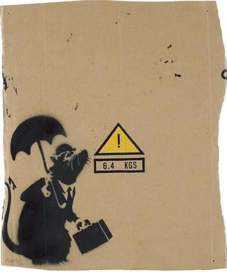 Banksy-Rat with Umbrella-2004