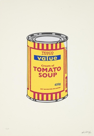 Banksy-Soup Can (Banana, Cherry, Blue)-2005
