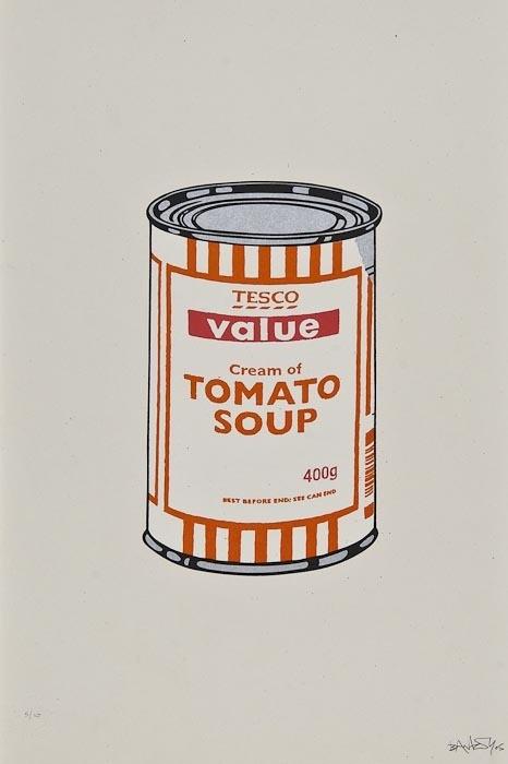 Banksy-Soup Can (White, Orange, Raspberry)-2005