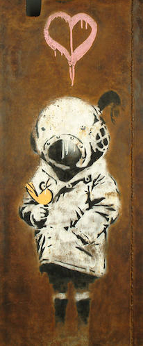 Banksy-Space Girl and Bird-