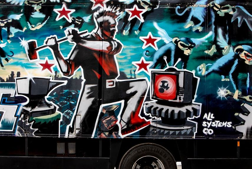 Banksy, Turbo Zone Truck. Laugh Now But One Day We'll Be in Charge, 2000
