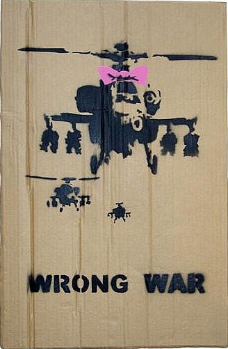 Banksy-Wrong War Placard Pink Colourway-