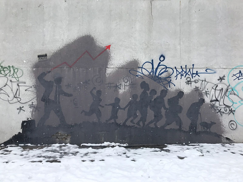 Banksy's Midwood mural defaced, via Page Six