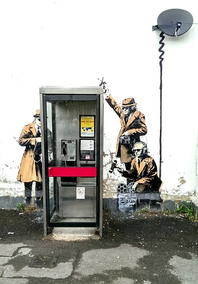 Banksy's Spy Booth in Cheltenham, via Wikipedia