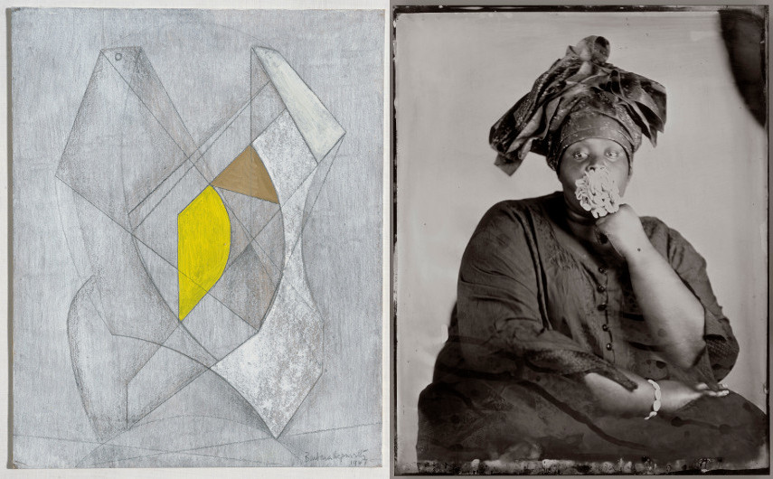 Barbara Hepworth - Two Forms, Yellow and Brown, 1947, Khadija Saye - Peitaw, 2017