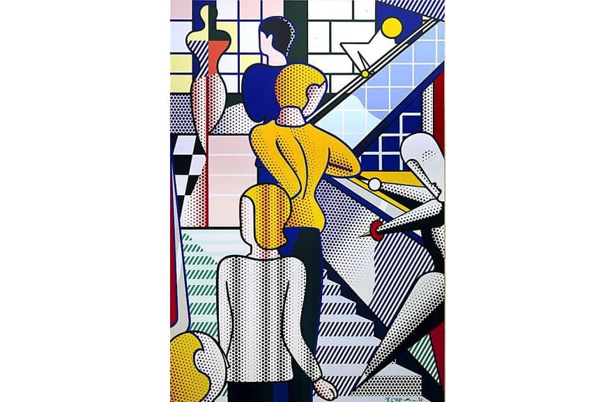 the American artist Roy Lichtenstein, Bauhaus Stairway Mural, 1989; modeled after a gallery piece; the roy lichtenstein foundation