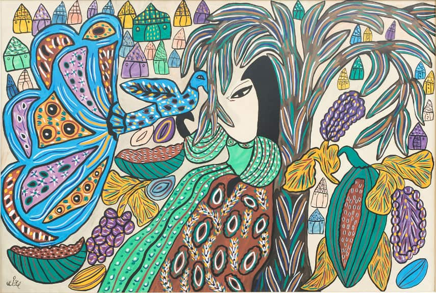 Baya - Woman and peacock, 1973; the news covered the 154 marrakech edition