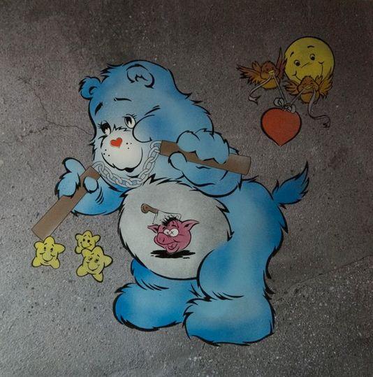 Ben Eine-Scare Bear (Blue)-