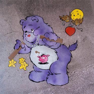 Ben Eine-Scare Bear (Purple)-