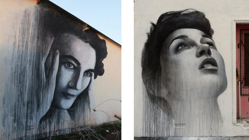 Ben Slow - Ruth First - Nomzamo Park, Johannesburg, South Africa - 2012 (Left) - Untitled - Dalston, London - 2012 (Right) making new wall work