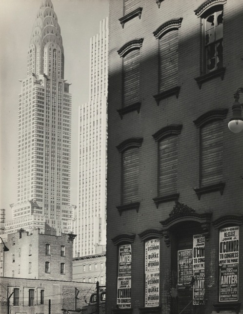 Berenice Abbott-Contrasting No. 331 East Thirty-Ninth Street With Chrysler Building (Left) And Daily News Building (Right)-1938