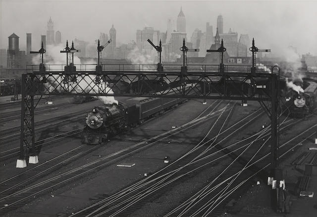 Berenice Abbott-Hoboken Railroad Yards Looking Toward Manhattan, New Jersey-1935