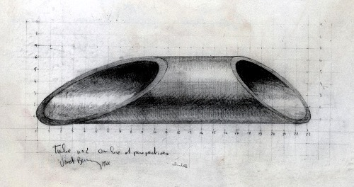 Bernar Venet - Blueprint for tube he sent when invited at exhibition of the Céret Museum in the Pyrenees, 1966
