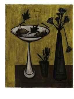 Bernard Buffet-Compotier et Vase de Fleurs-1954