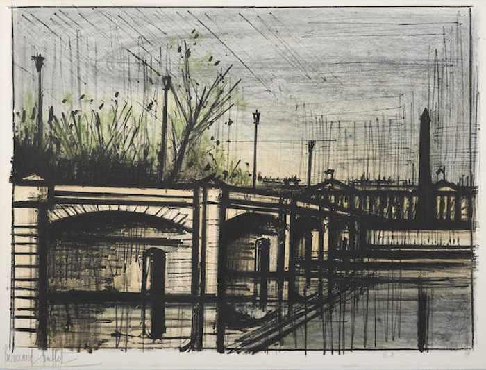 Bernard Buffet-Le Pont de la Concorde pl. 9 from Album Paris-1962