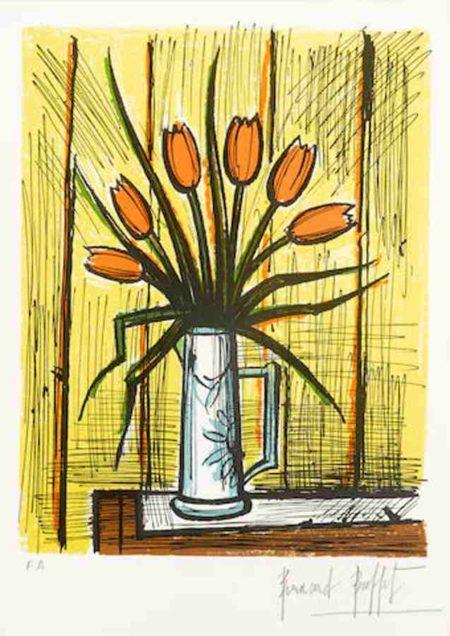 Bernard Buffet-Tulipes Orangees-1982